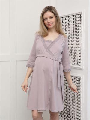 Комплект NdA244 для беременных и кормящих халат и сорочка в роддом