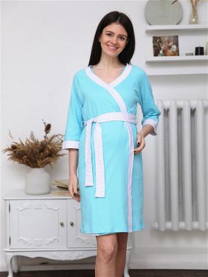 Комплект 151 для беременных и кормящих халат и сорочка в роддом теплый